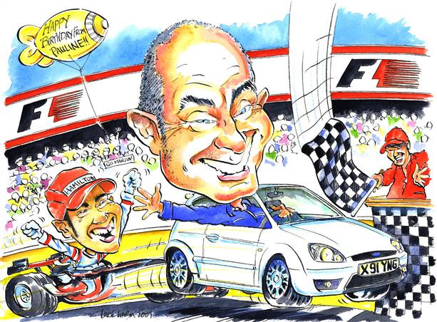 Retirement Present Caricature with Lewis Hamilton