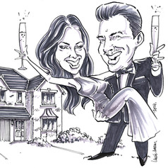 A4 B&W Caricature portrait of engaged couple by Luke Warm