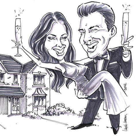 A4 B&W Caricature portrait of engaged couple by Luke Warm