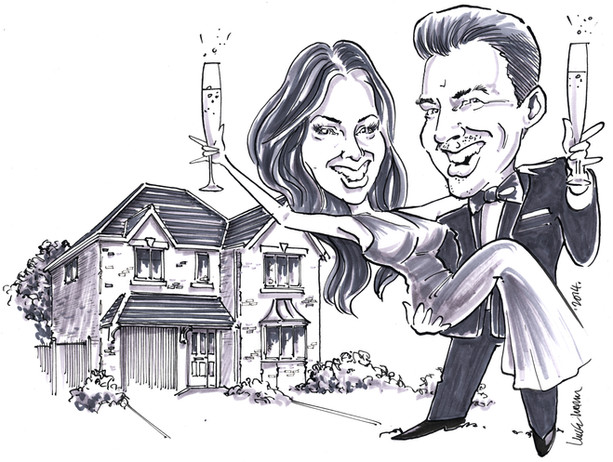 Engagement and Moving In Present Caricature