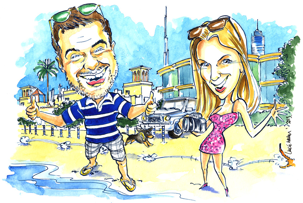 Leaving Present Caricature after Working Abroad