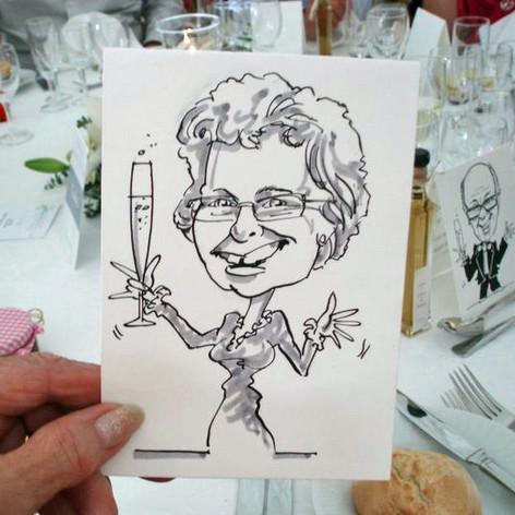 A6 B&W Place Setting Caricature by Luke Warm