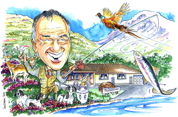 60th Birthday Shooting and Fishing Caricature