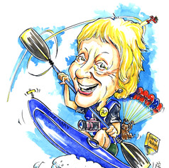 A4 colour caricature picture of kayaker by Luke Warm drawn from photos