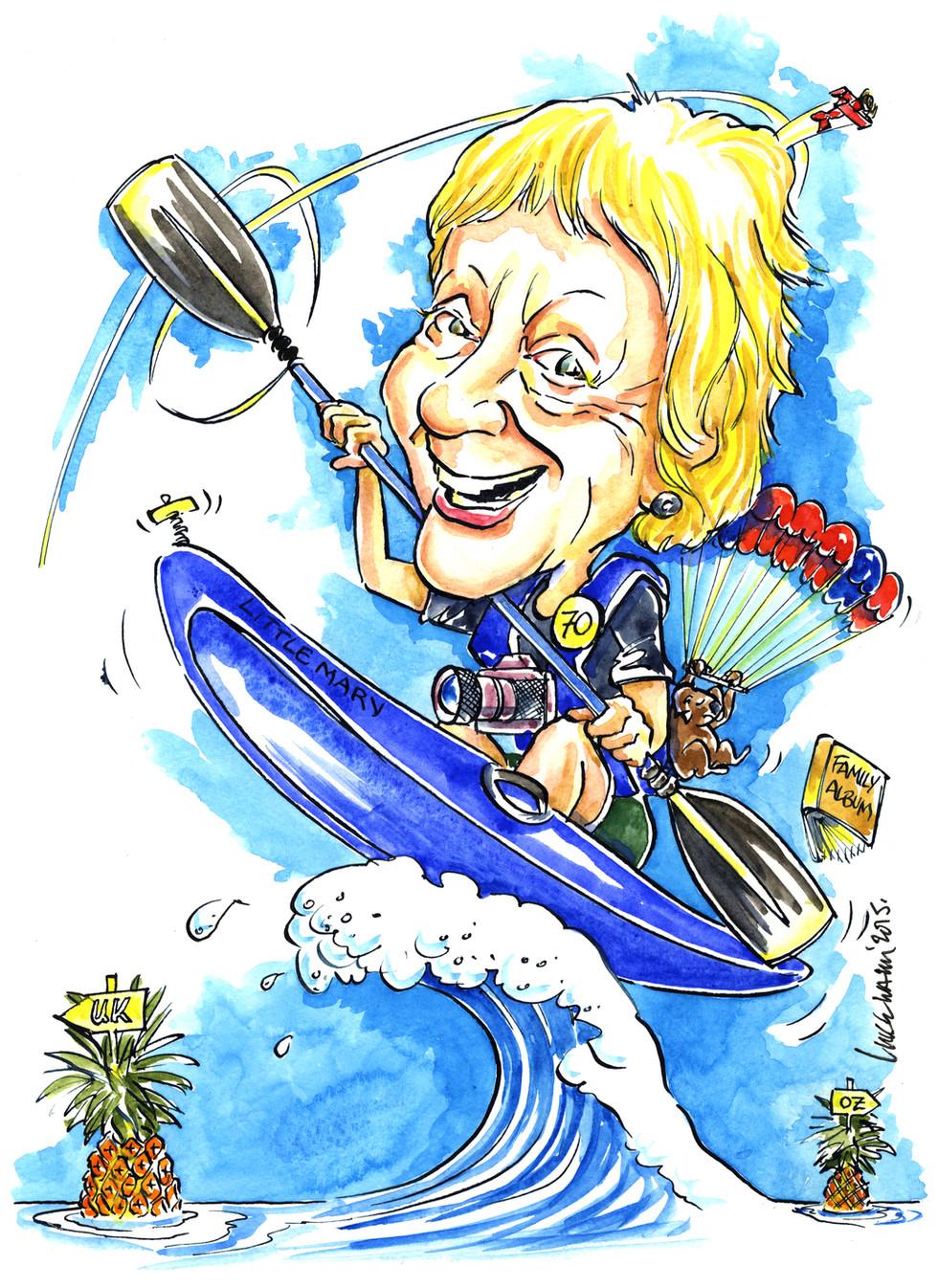 70th Birthday Kayaking Caricature