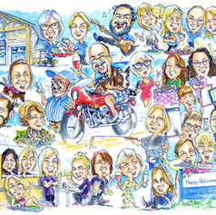 A1 leaving present group caricature of about 30 people by Luke Warm
