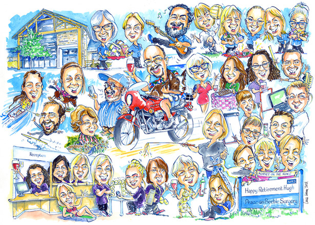 NHS Surgery Leaving Present Caricature