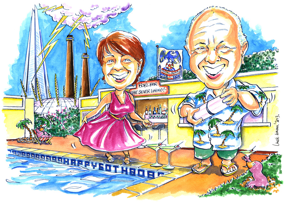 60th Birthday Swimming Pool Caricature
