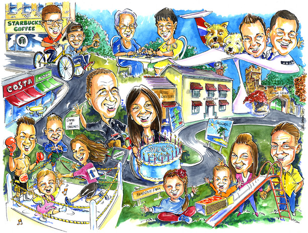 50th Birthday Family Group Caricature