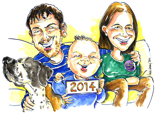 37th Birthday Family Group Caricature