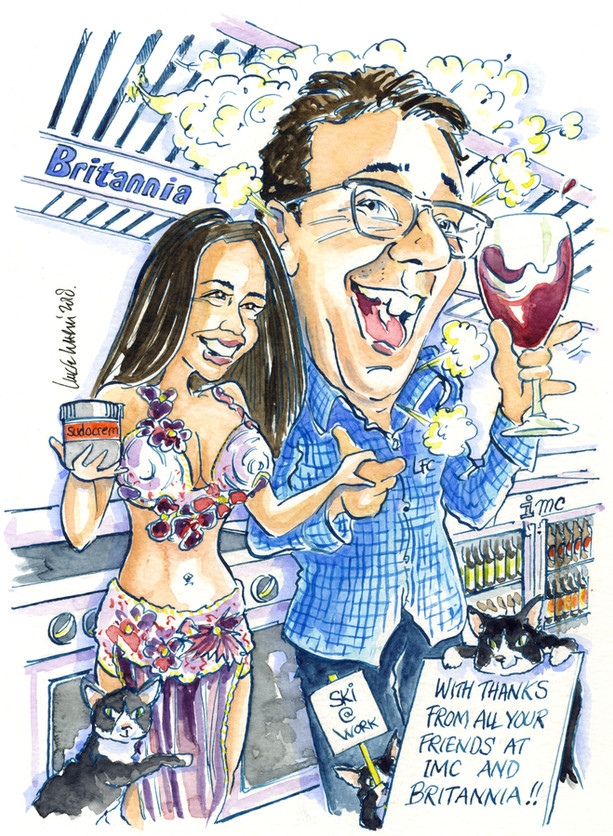 Leaving Present Caricature from Work Colleagues