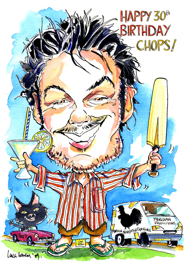 30th Birthday Present Cricket Caricature