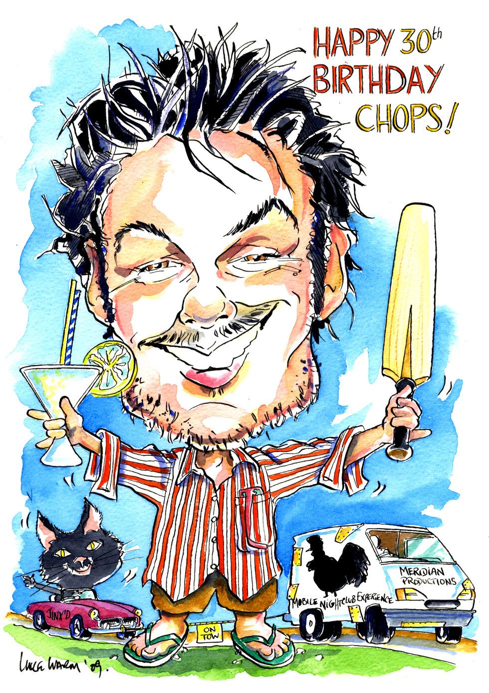 30th Birthday Present Cricket Caricature