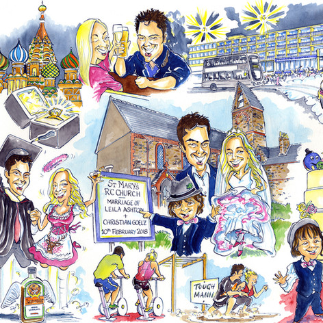 A1 first date - engagement - wedding caricature of 8 people by Luke Warm