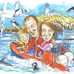 A3 colour nature loving family group caricature by Luke Warm