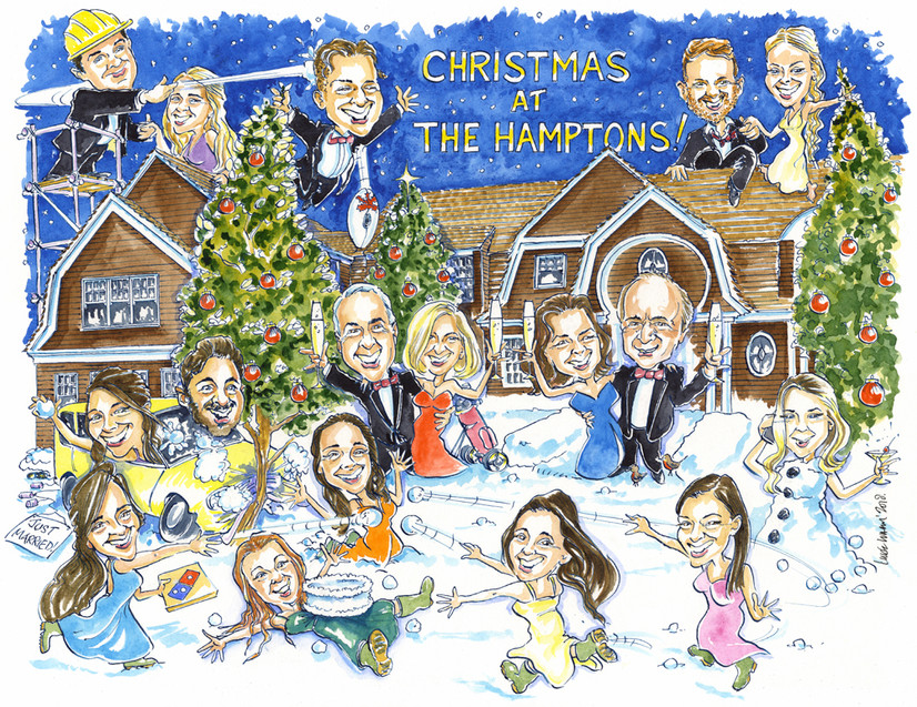 Family Christmas Present Caricature in the USA