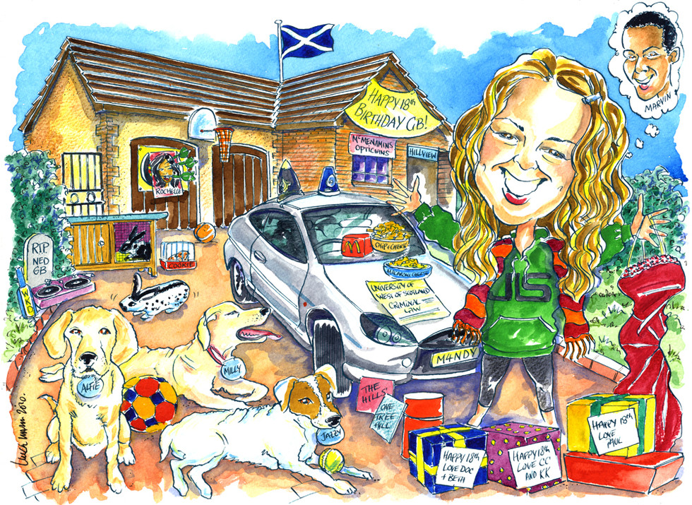 18th Birthday Caricature with loads of personal details
