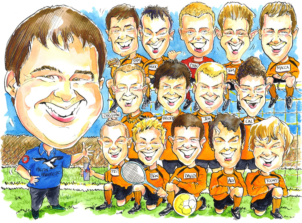 Football Coach Team Caricature