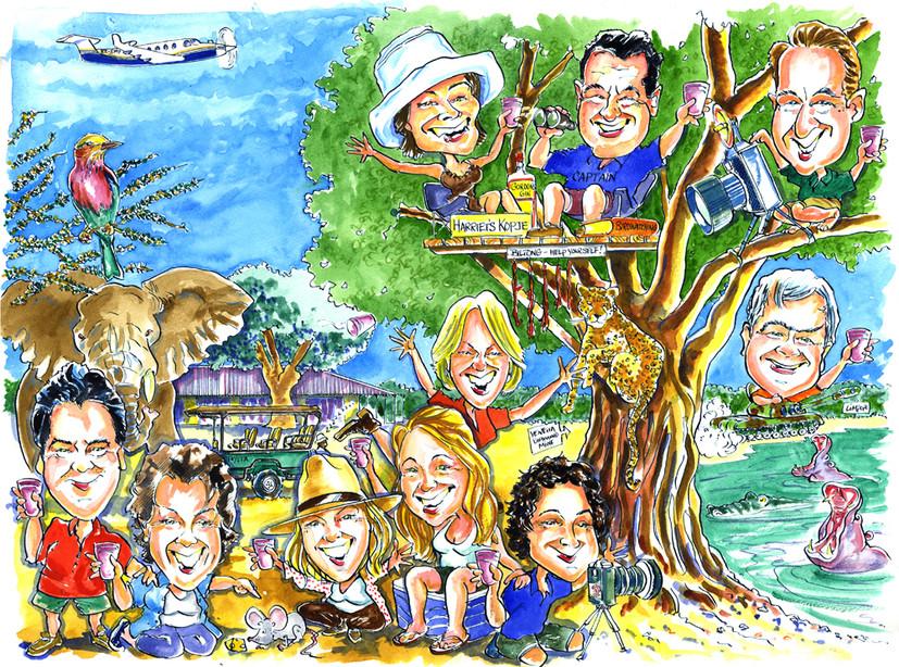 African Safari Holiday Caricature