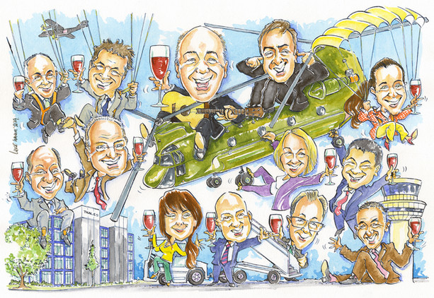Senior Management Retirement Present Caricature