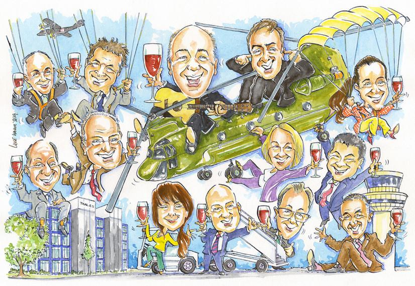 Senior Management Retirement Present Caricature