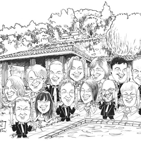 Group of 15 Place Setting Caricatures by Luke Warm photomontaged onto a drawing of the party venue.