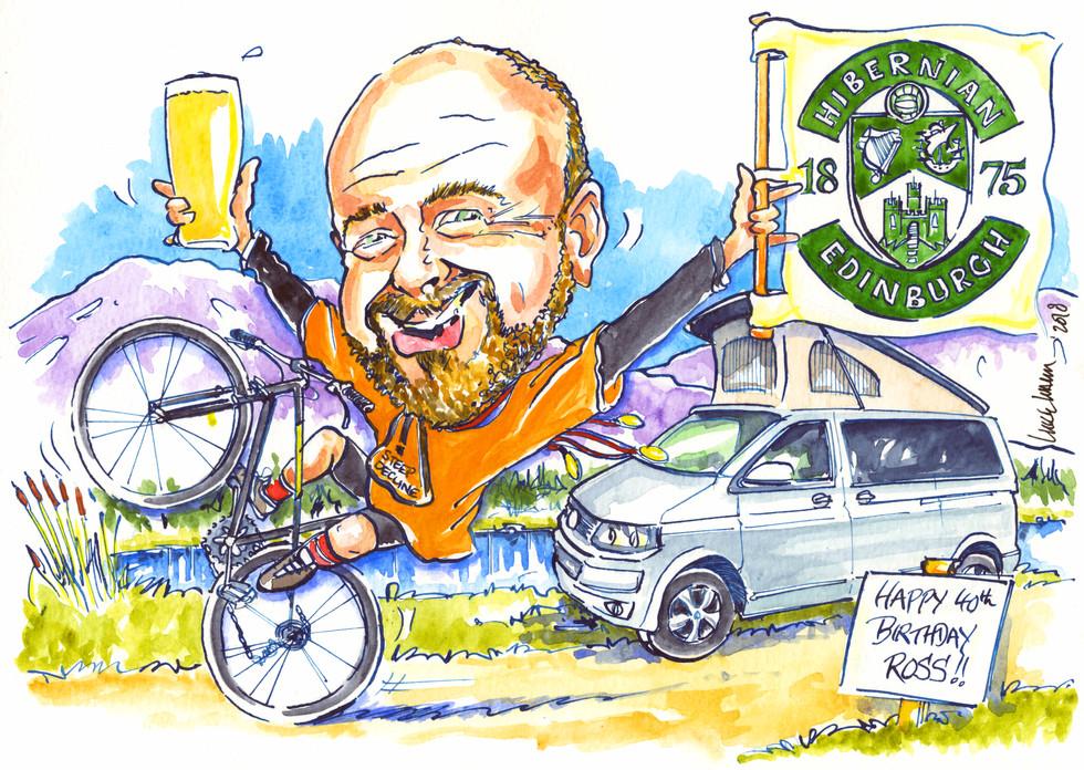 40th Birthday Cyclist Caricature