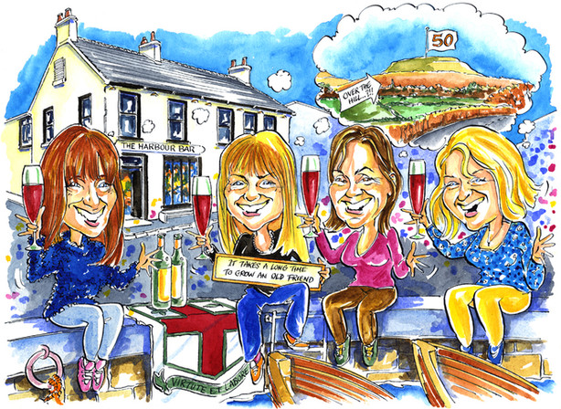 50th Birthday Group of Friends Caricature
