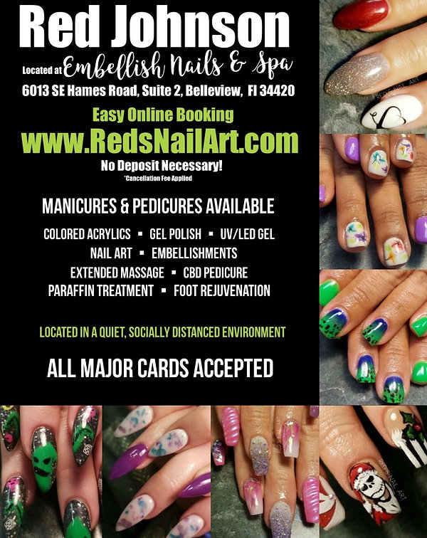 Red Johnson, Belleview Florida, 34420, Nails, Nail Polish, Acrylic, Gel Polish, Nail Art, Facebook, Instagram, IG, FB, Snapchat, Tattoo