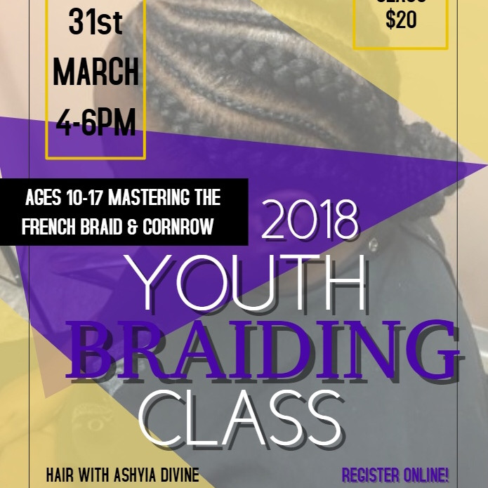 Youth Mastering French Braid and Cornrow Class