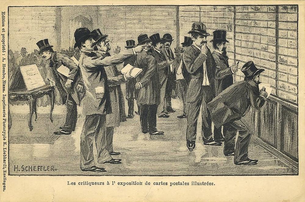 Х. Шеффлер. Ценители на выставке открыток. Париж. 1900.