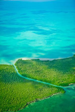 Channel on island in Belize