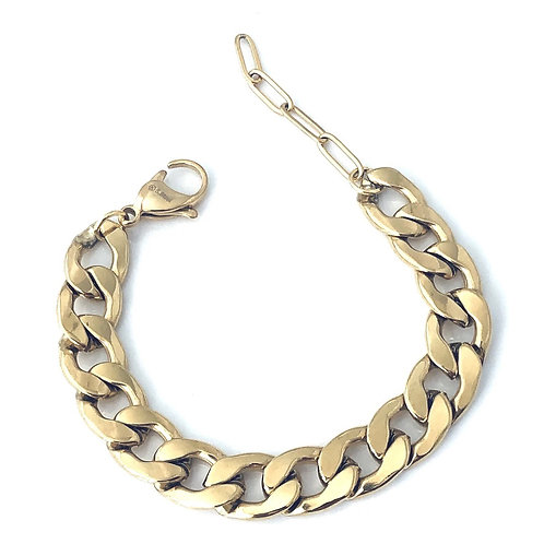 24k gold plated over stainless steel chain bracelet