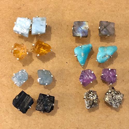 Raw Stone Stud Earrings - Sterling Silver
