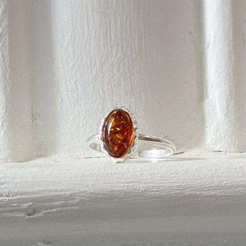 Baltic Amber Ring - Sterling Silver