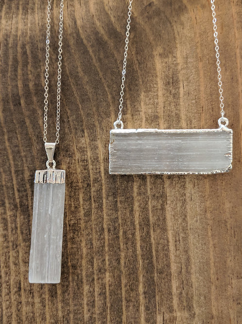 Silver Plated Selenite Bar Necklace