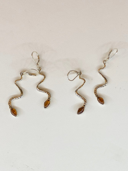 Baltic Amber Snake Earrings - Sterling Silver