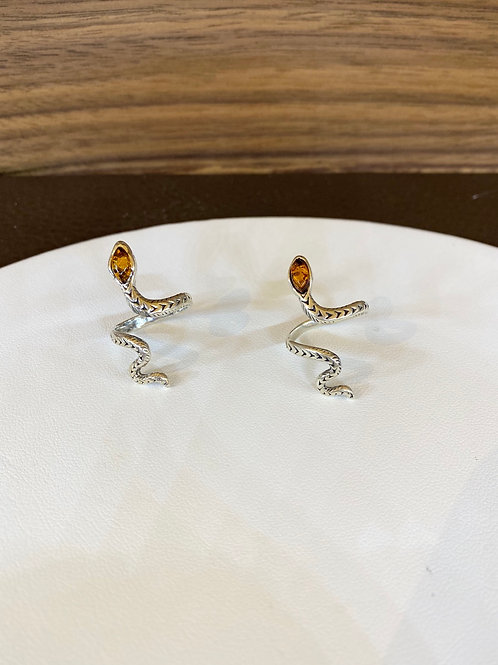 Baltic Amber Snake Ring (adjustable) - Sterling Silver