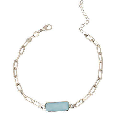 Blue Chalcedony Chain Bracelet