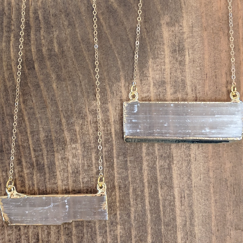 Gold Plated Selenite Bar Necklace