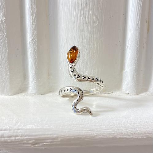 Amber Snake Ring - Sterling Silver