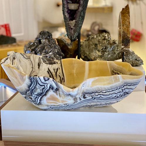 XL Hand-Carved Zebra Onyx Bowl