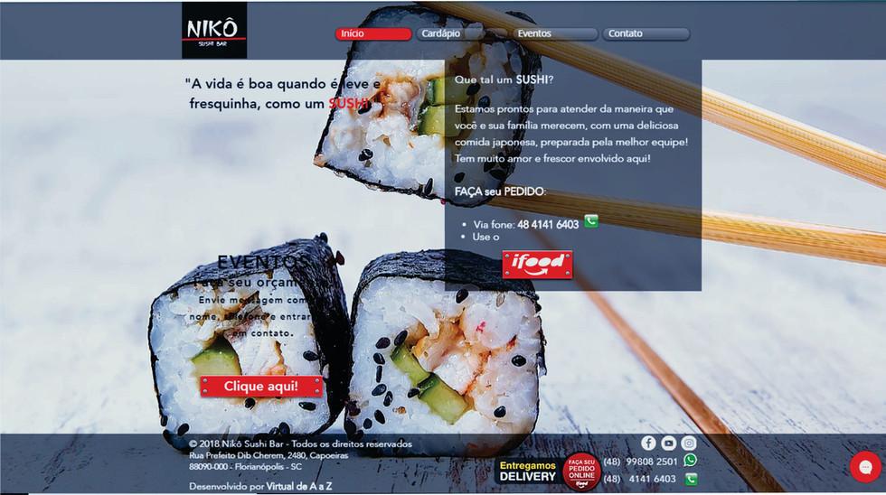Site NIKÔ Sushi Bar - home page