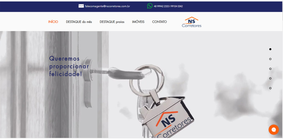 Site NS Corretores - home page