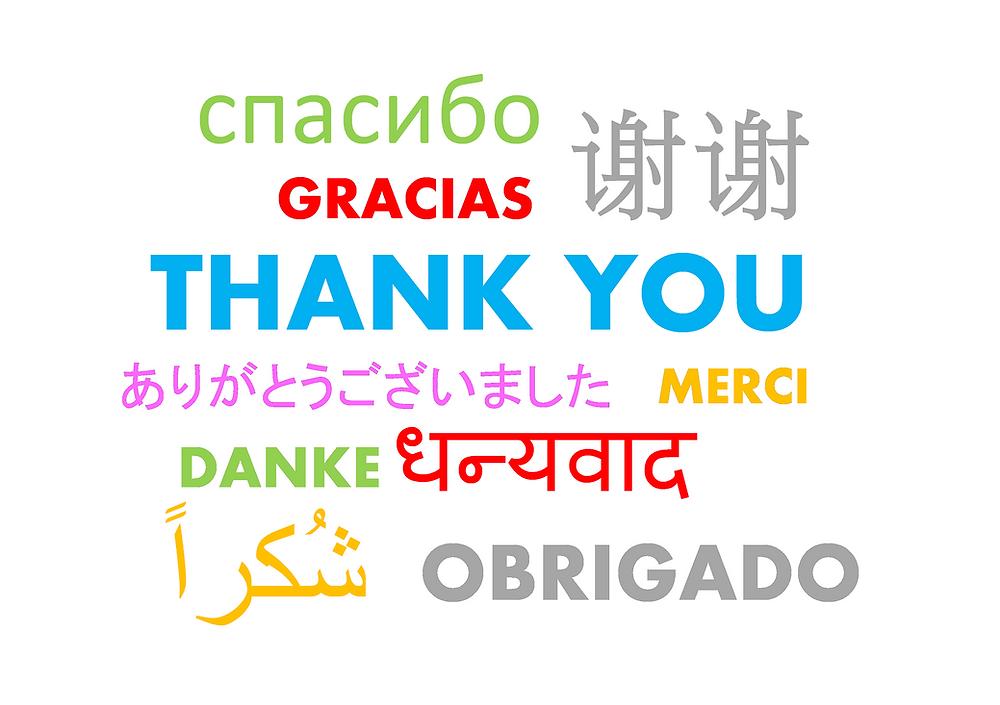Agradecimento em diferentes línguas