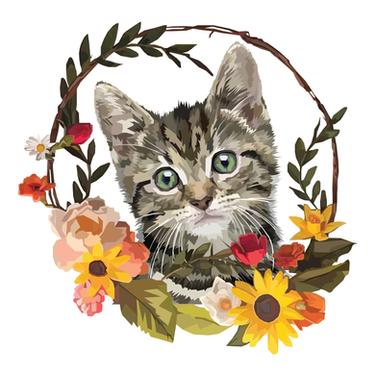 Flower Wreath Kitten