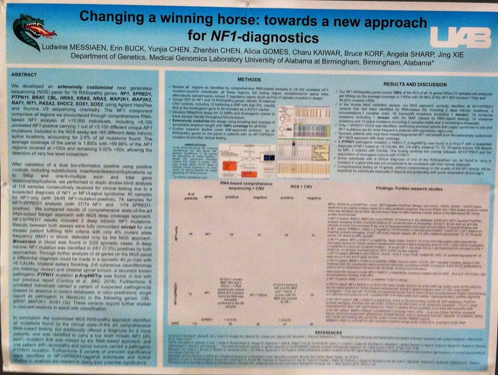 A presentation poster from the University of Alabama at Birmingham at the 2016 NF Conference