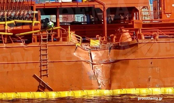 ONE (Ocean Network Express) мега-контейнеровоз ONE BLUE JAY протаранил турецкий танкер GUNECE, следуя к причалу контейнерного терминала в порту Перама, Пирей, Греция