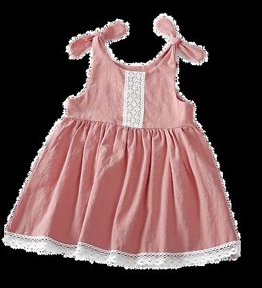Lace bodice & hem, flutter sleeve dress - Dusty Pink