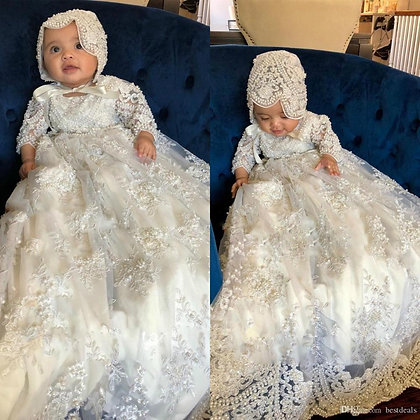 Unisex Long Sleeve Christening First Communication Lace Gowns With Bonnet
